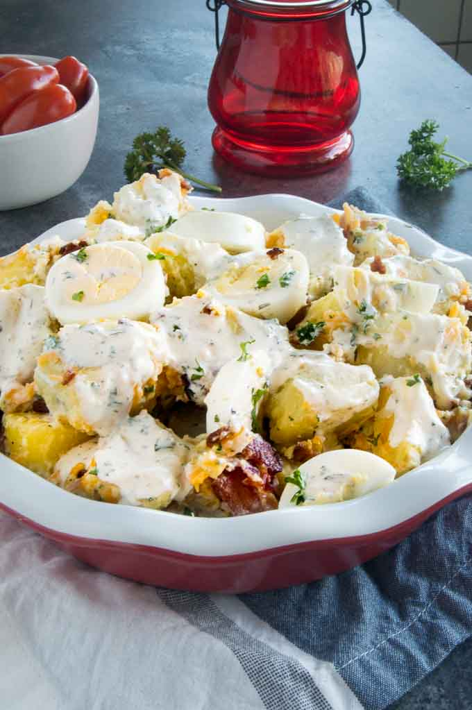 Serving plate at a BBQ for a side dish: Bacon Ranch Potato Salad