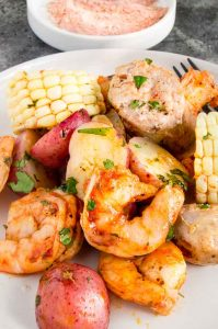 Close up af flavorful Creole Shrimp Boil just off the grill