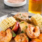 Shrimp, potatoes, corn in creole spice mix