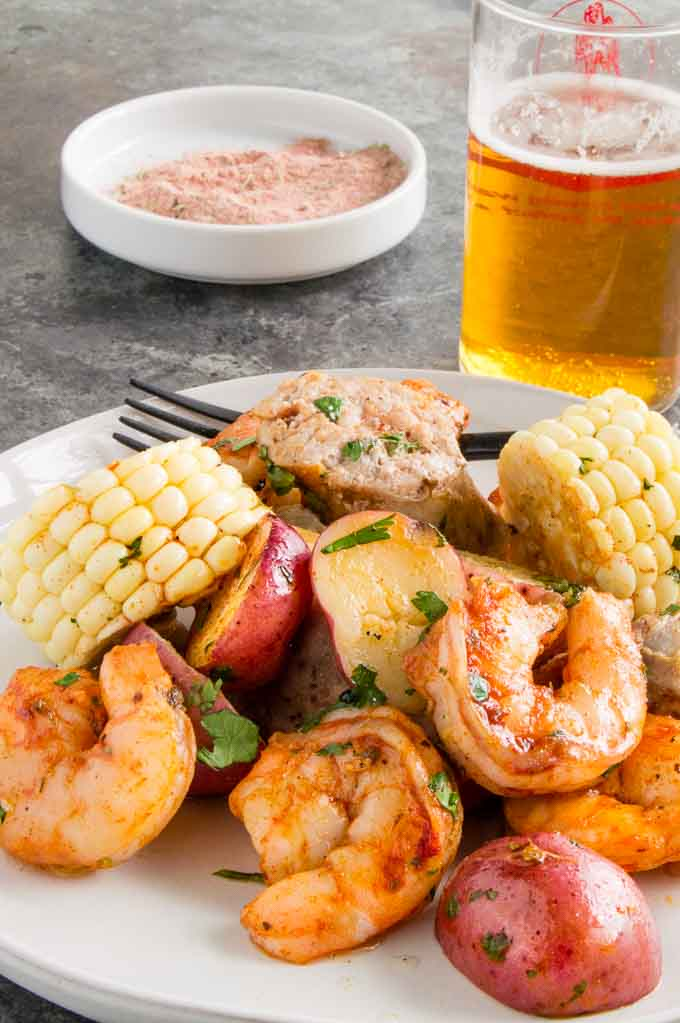 Shrimp, potatoes, corn in creole spice mix