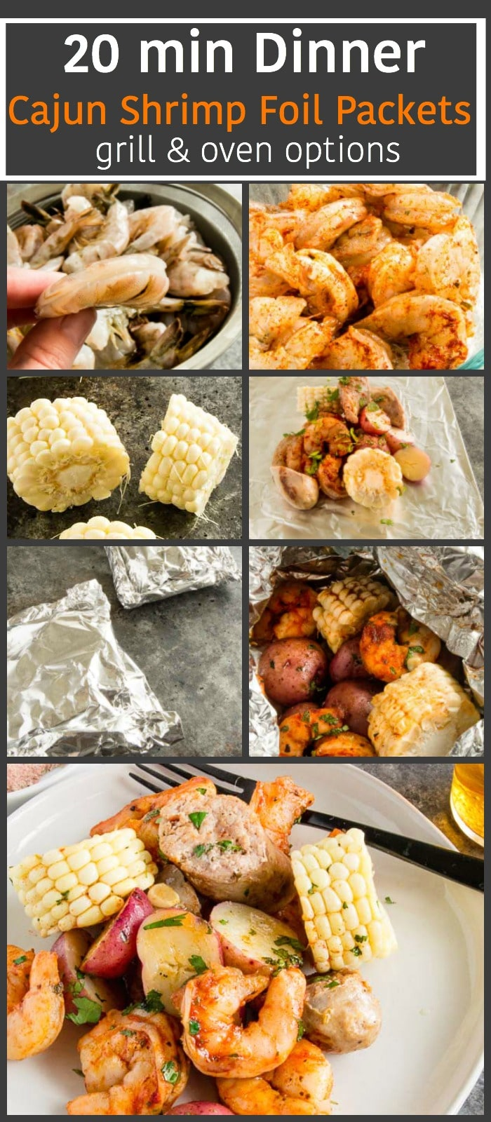 This Cajun Grilled Shrimp Foil Packetcan be made ahead ready to grill when you're ready to eat. 20 minute Meal, easily customizable, full of delicious cajun/creole flavors. Oven option. #shrimp, #grilling #foilpacket #bbq #grilledfish