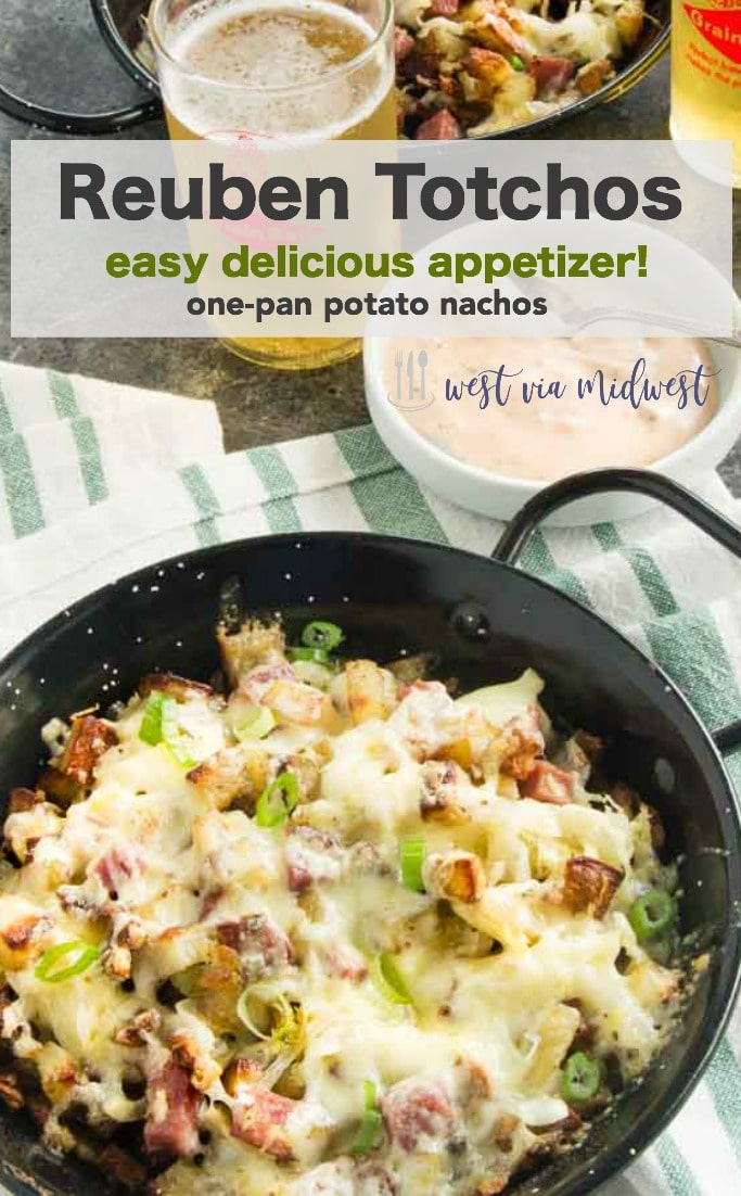 This Reuben Tatchos recipe is an easy one pan hearty appetizer with crispy potatoes smothered with all the fixings for Reubens, cheese, corned beef and kraut perfect for springtime entertaining! #hotappetizer #appetizers #reuben #partyfood #easyrappetizerrecipe #hotdip #potatoappetizer #tatertotnachos #totchos #potatonachos