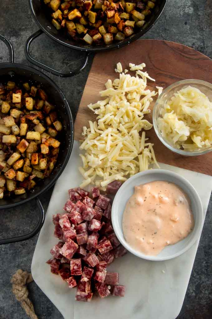 Ingredients for Reuben Potato Nachos