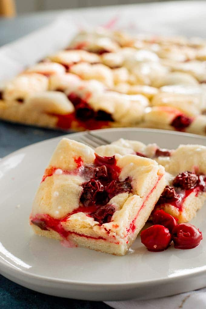 Just out of the oven cherry pie bars