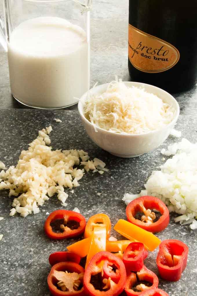 Ingredients for shrimp Alfredo cream sauce