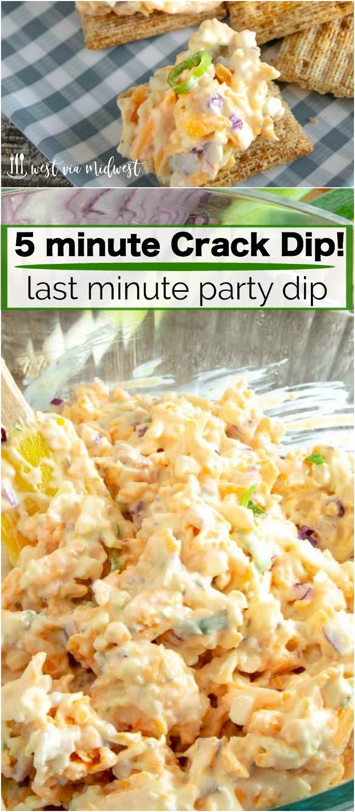 This 5 minute crack dip comes together in 5 minutes and is perfect for serving with crackers.  Ideal for pool side snacking, game day snacking or just to serve with cocktails!