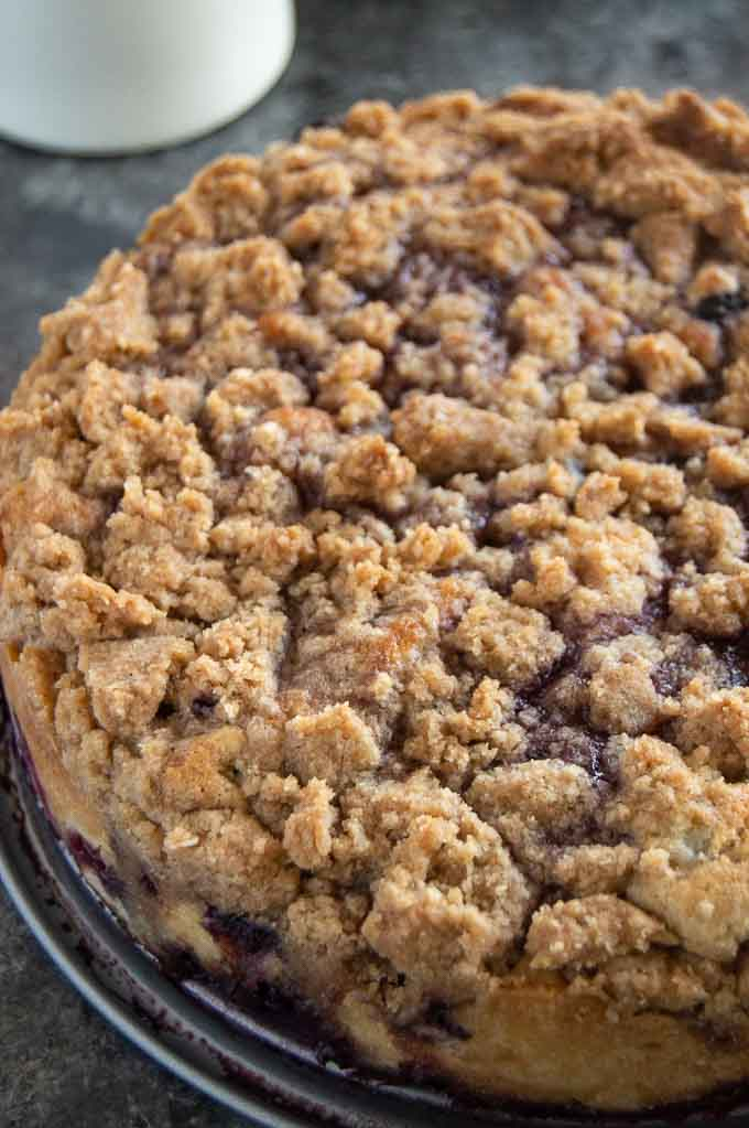 Crunchy Streusel topping on top of the blueberry buckle
