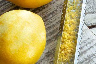 Fresh grated lemon peel for homemade lemon ice cream