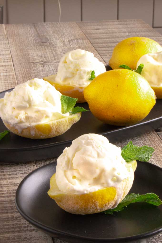 No churn Lemon homemade ice cream served on a platter for parties