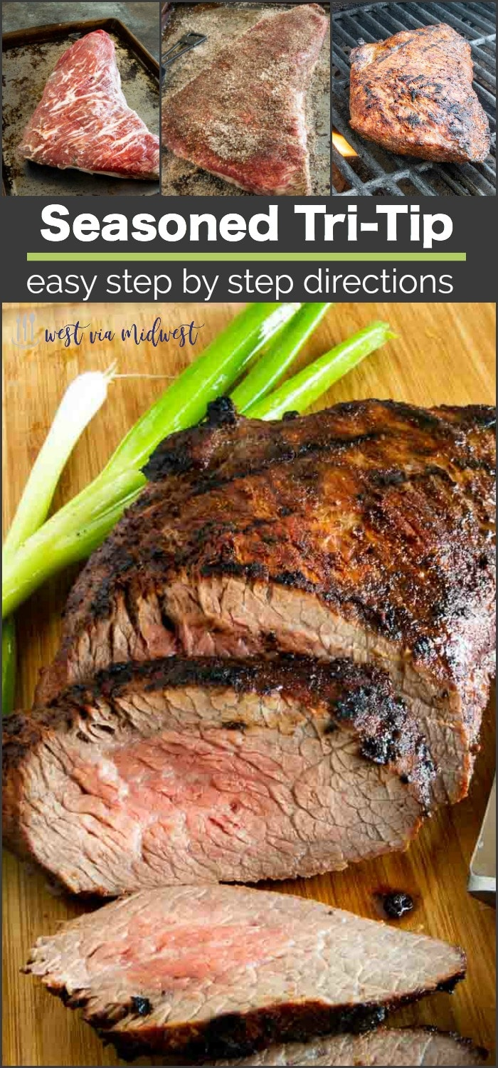 Full of flavor and simple to make, this Easy Seasoned Tri Tip Recipe cooks in no time and yields tender smokey seasoned beef that is great for entertaining! #bbq #grilling #beeftriptip #triptipdinner