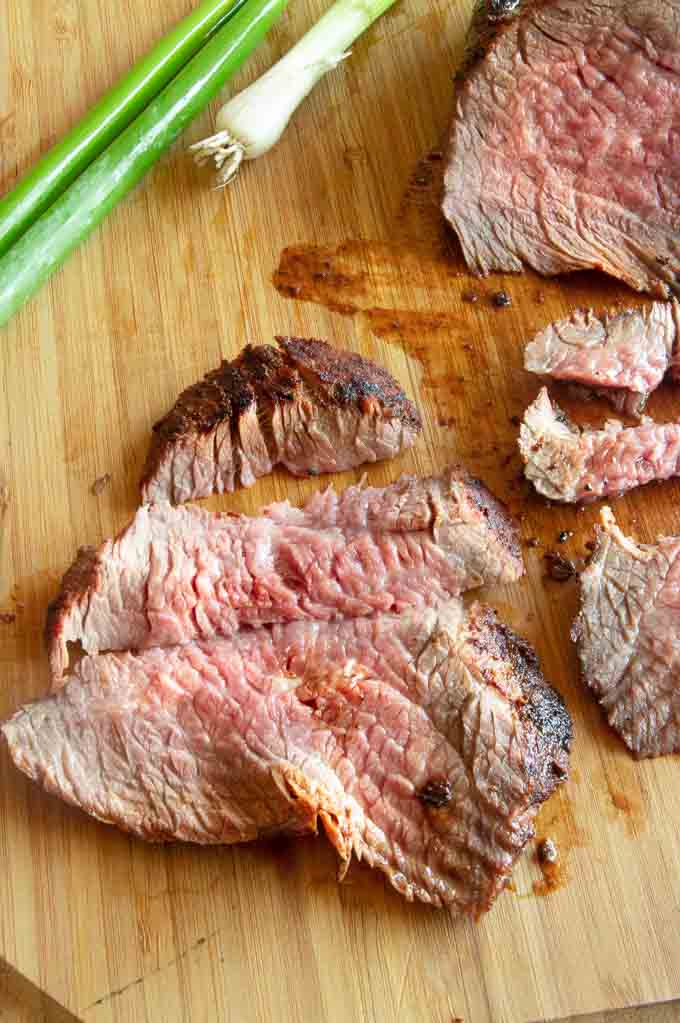 Tri tip roast shown cross grain