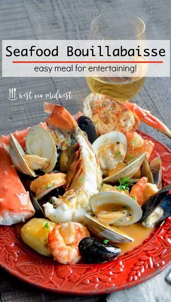 Seafood Bouillabaisse is full of shrimp, lobster, crab in a light flavorful healthy broth perfect for a great meal to serve company!  A fish stew ready in less than 45 minutes!