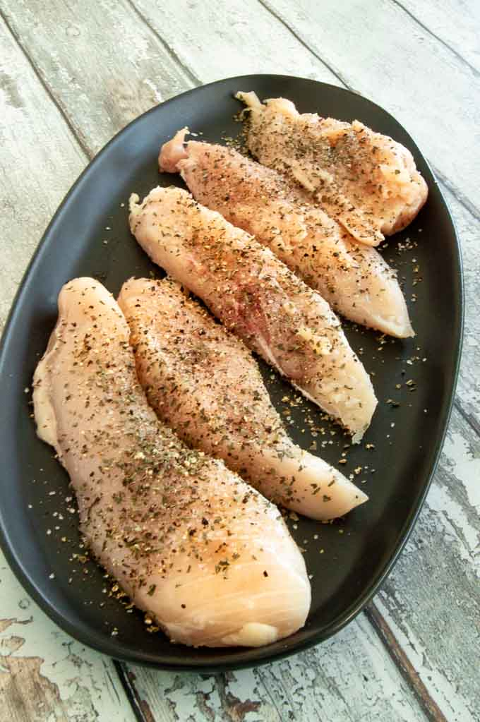 skinless breast fillets seasoned for creamy tuscan garlic chicken