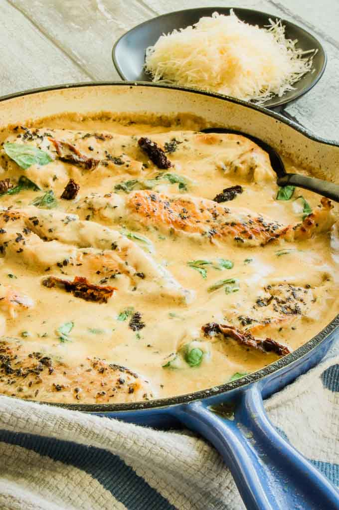 All the ingredients being served for Tuscan Creamy chicken