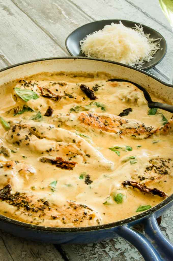 Finished Cream sauce over Creamy tuscan garlic chicken