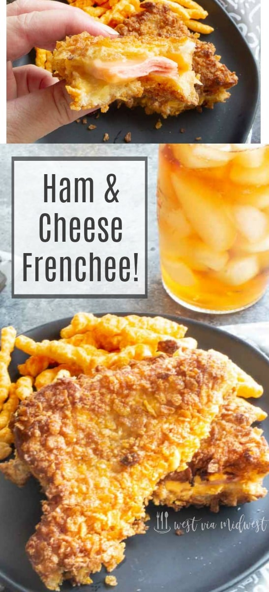 Ham & Cheese Frenchee's are the gourmet version of a grilled ham and cheese. One step above with a crispy crunchy outside, cooked to golden perfection with melted cheese along with the star of the sandwich an artisan quality, all natural hardwood smoked black forrest ham inside. #grilledcheese #tailgatefood #ham #cheese @BistroFavorites #bistrofavorites