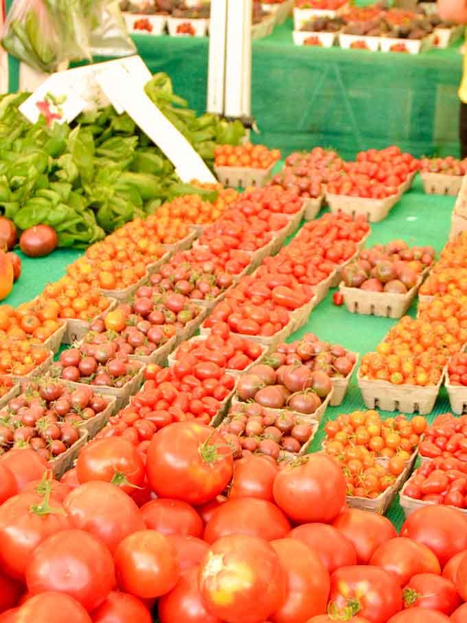 Fresh tomatoes at the farmers market to make marinara sauce