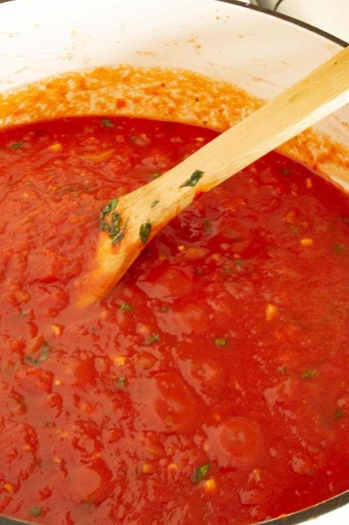 Pot Full of Marinara sauce