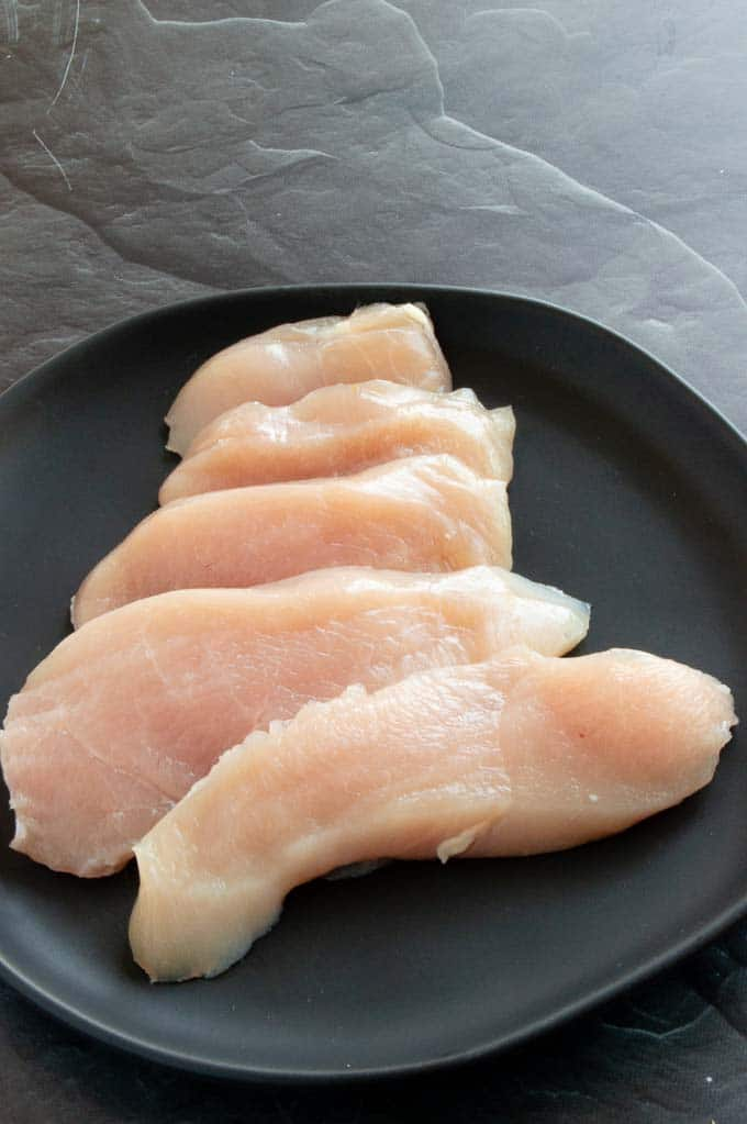 "thin cuts of chicken (3/4"")"
