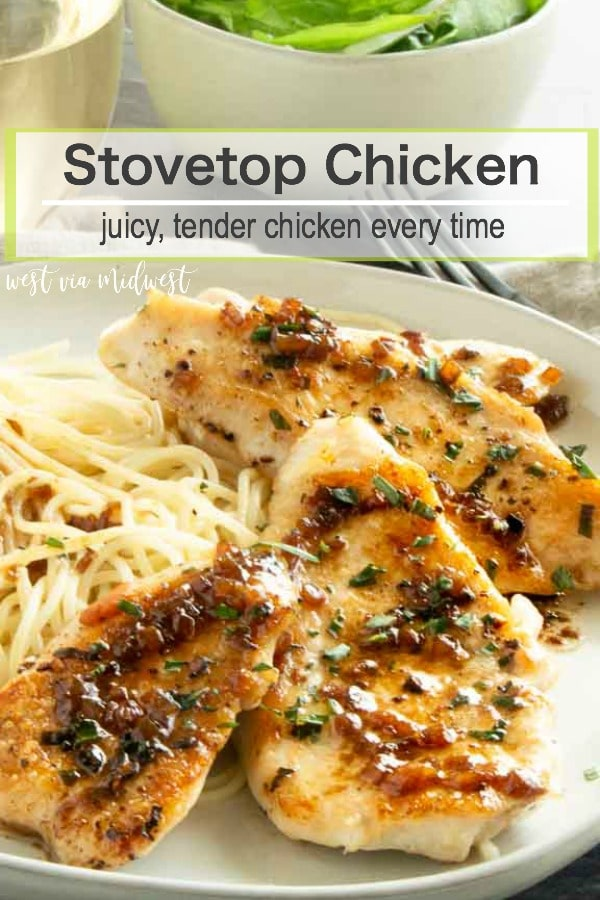 Golden brown seared Stove Top Chicken seasoned with fresh tarragon, with a vermouth butter sauce spooned over the top is a simple, one pan dinner that you can have on the table in less than 20 minutes! #easychicken #QUICKCHICKENRECIPES #simplepansauce #chickendinner