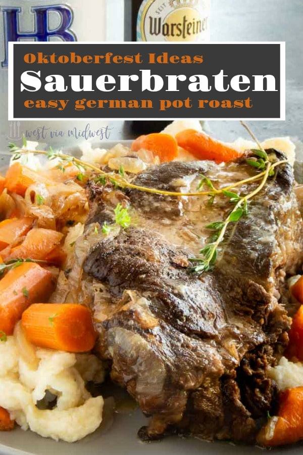 This Sauerbraten recipe (traditional German pot roast) is made in the slow cooker. It's so tender it just falls apart.  Marinated in vinegar, wine and simple spices it's perfect for your Oktoberfest party!