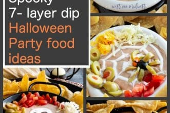 4 variations of 7 layer dip for halloween