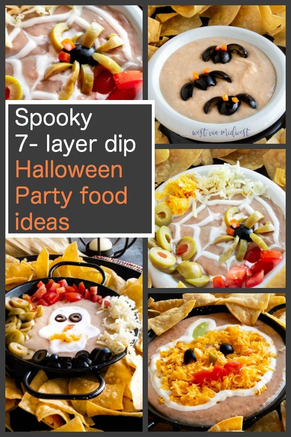 halloween party food 4 variations of 7 layer dip for halloween