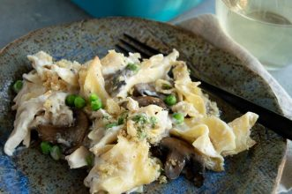 Close up of creamy, turkey casserole tetrazzini