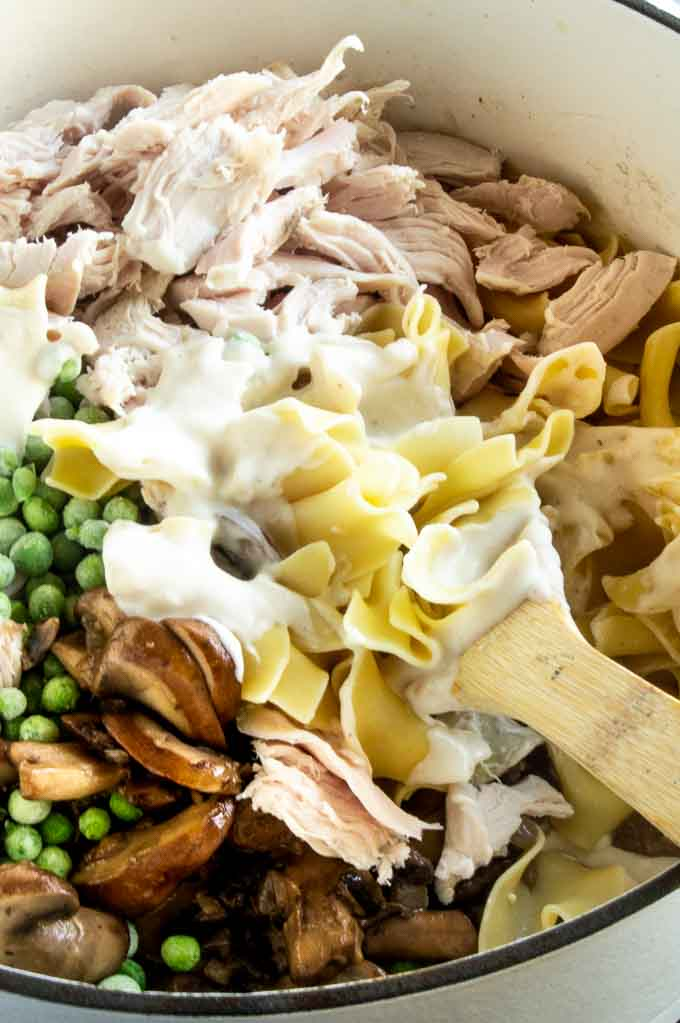 Adding the ingredients for leftover turkey pasta