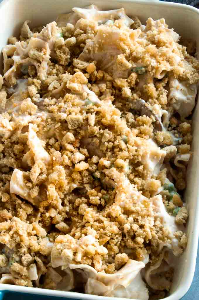 turkey noodle casserole with stuffing topping on top