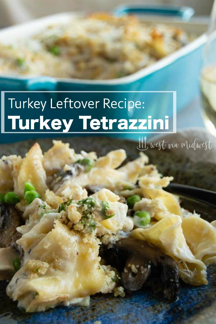 This Easy Turkey Tetrazzini Recipe is a perfect use for all of your leftover turkey. Made with a cheesy sauce, earthy mushrooms with noodles, this turkey casserole is a great way to eat turkey another day and not think you're eating the same meal!  #thanksgiving #leftoverturkey #thanksgivingleftovers #weeknightdinner #easymealturkey #turkeycasserole #turkeypasta