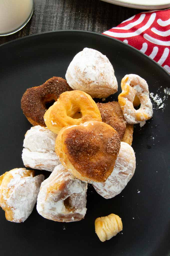 serving plate of valentines day heart shaped donuts