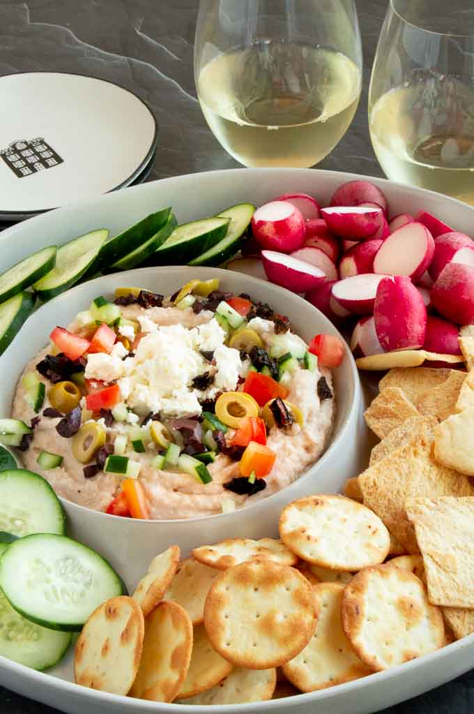 Mediterranean dip set in a dip bowl for a party