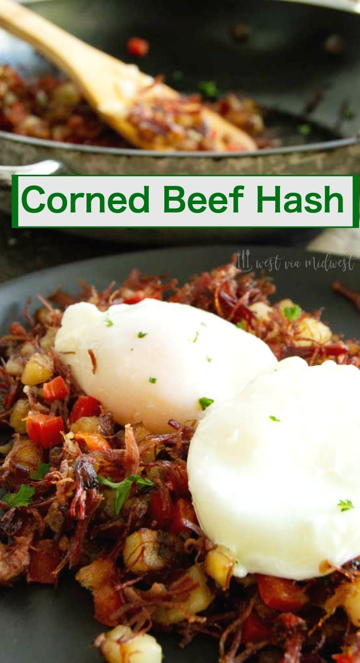 dinner table with corned beef hash on plate