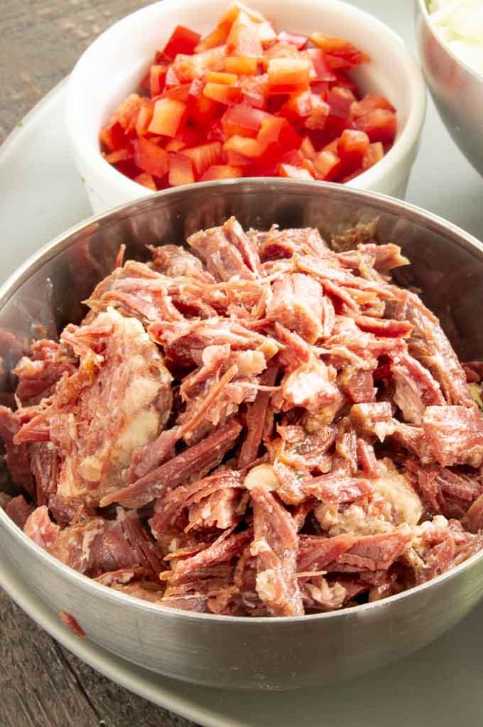 chopped, shredded corned beef for brunch