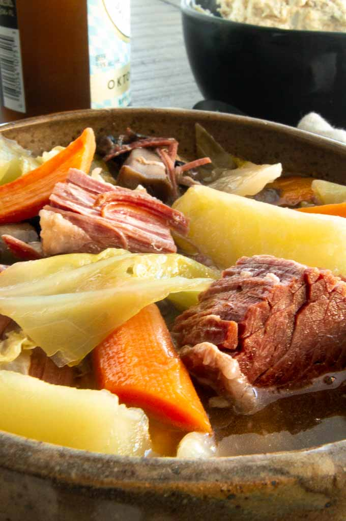 closeup of corned beef and cabbage soup