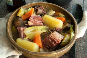 Leftover Corned Beef makes the most delicious Corned beef and Cabbage Soup. Filled with cabbage, mushrooms, celery, carrots and onions surrounding big chunks of corned beef in a deep rich flavorful broth.