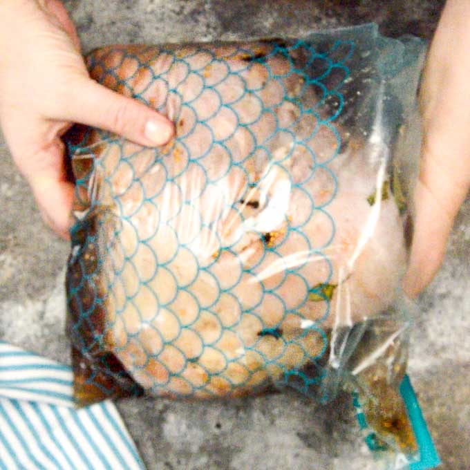 Ziplock bag sealed with brine ready to brine in fridge.