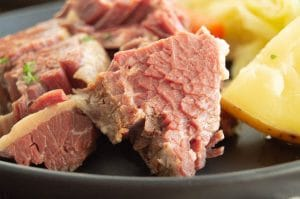 close up of tender, juicy fork tender corned beef