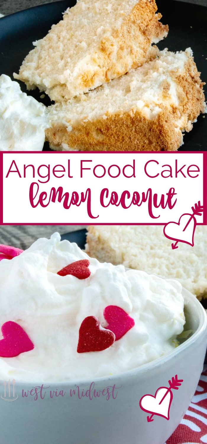 Lemon Coconut Angel Food Cake is so light, airy and slightly sticky. A perfect bite to go along with fresh fruit, whipped cream or by itself.