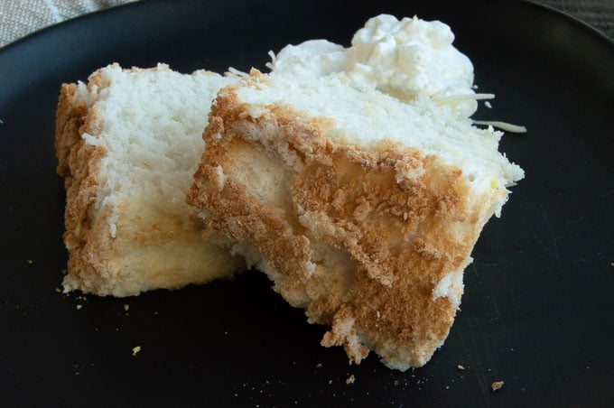 Golden Flaky edges of angel food cake