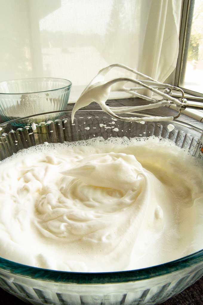 glossy peak egg whites for angel cake