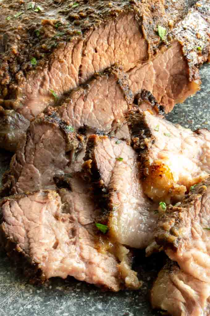 Sliced against the grain beef brisket