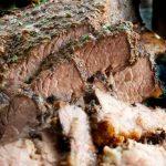 Close up of sliced beef brisket