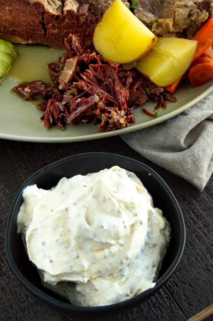 mustard horseradish sauce being served with corned beef