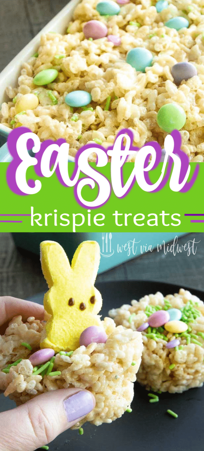Krispie Peep Nests are made into individual servings for easy display and easy eating for an Easter Themed Food Treat.