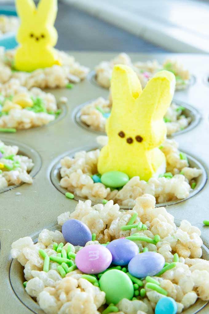 muffin pan with peep on Rice Krispie treats