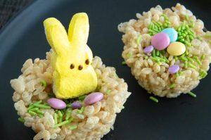 individual Krispie treat topped with peeps