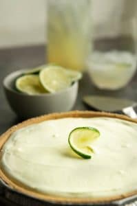 Whole, uncut margarita pie on a buffet table