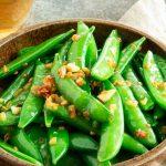 serving bowl of sugar snap peas